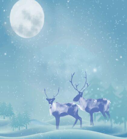 Snowy Winter Scene  Reindeer Animal Sticker