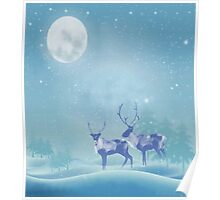 Snowy Winter Scene  Reindeer Animal Poster