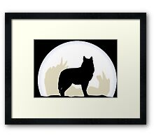Night Wolf, Moon Silhouette Framed Print