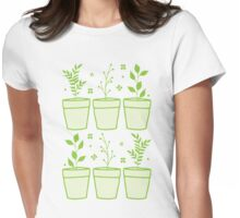 six pot plants Womens Fitted T-Shirt