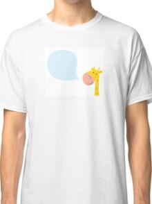 Smiling yellow giraffe head with speech bubble Classic T-Shirt