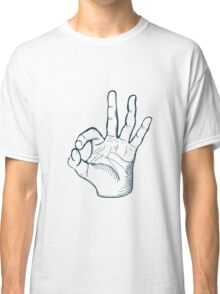 Hand drawn sketch vintage ok sign Classic T-Shirt