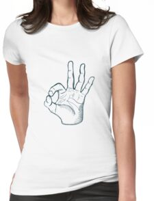 Hand drawn sketch vintage ok sign Womens Fitted T-Shirt