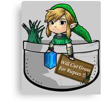 "Zelda ""Will Cut Grass For Rupees"" Canvas Print"