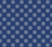 Denim Blue Asian Inspired Abstract Flower Pattern by Mercury McCutcheon