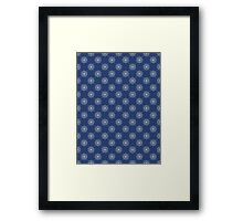 Denim Blue Asian Inspired Abstract Flower Pattern Framed Print