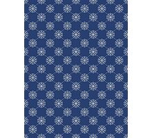 Denim Blue Asian Inspired Abstract Flower Pattern Photographic Print