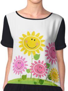 Happy Spring Flower Garden. Vector Illustration. Chiffon Top