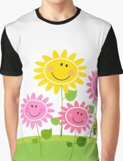 Happy Spring Flower Garden. Vector Illustration. Graphic T-Shirt
