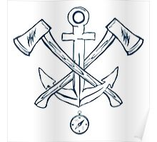 Anchor with crossed axes. Design elements Poster