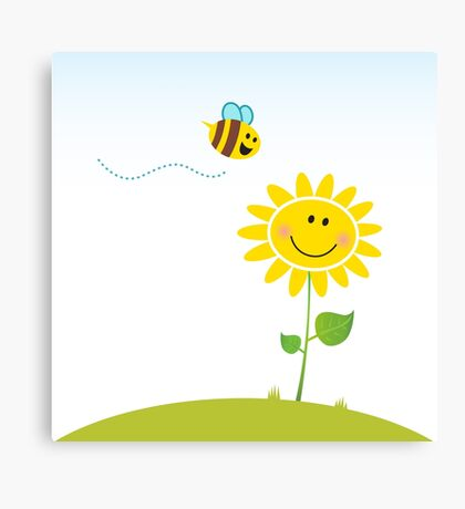 Spring & nature: Happy yellow flower with bee Canvas Print