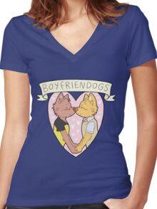 BOYFRIENDOGS Women's Fitted V-Neck T-Shirt