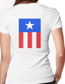 AMERICAN, America, US, USA, Captain America, Star and stripes Womens Fitted T-Shirt