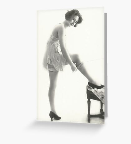 20's Lady adjusting her stockings vintage photograph Greeting Card