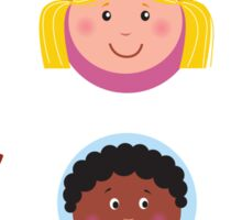 Cute diversity kids icons or buttons Sticker