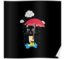 Cat in the rain with Umbrella Poster