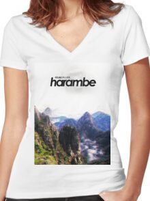Harambe Mountains Movie Poster Women's Fitted V-Neck T-Shirt
