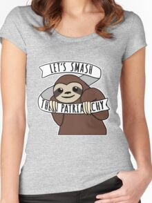 """Feminist Sloth """"Smash the Patriarchy"""" Women's Fitted Scoop T-Shirt"""