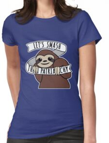"Feminist Sloth ""Smash the Patriarchy"" Womens Fitted T-Shirt"