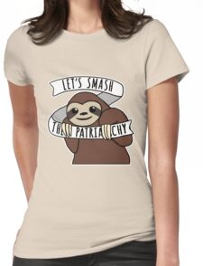 """Feminist Sloth """"Smash the Patriarchy"""" Womens Fitted T-Shirt"""
