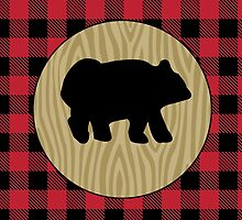 Rustic Black Bear with Buffalo Plaid  by JessDesigns
