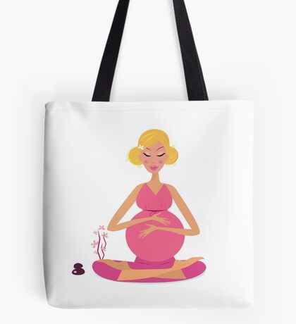 Pregnant woman doing yoga : isolated on white background Tote Bag