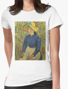 Vincent Van Gogh - Peasant Girl With Yellow Straw Hat, 1890 Womens Fitted T-Shirt