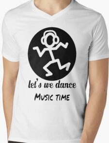 Let's We Dance Music Time Mens V-Neck T-Shirt