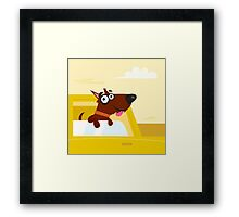 Happy brown dog travel in the car. VECTOR ILLUSTRATION Framed Print