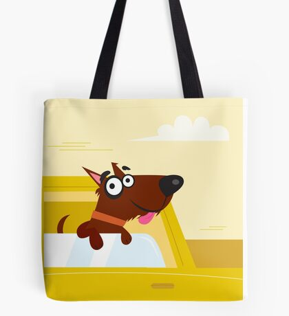 Happy brown dog travel in the car. VECTOR ILLUSTRATION Tote Bag
