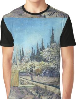 Vincent Van Gogh - Orchard In Blossom, Bordered By Cypresses, 1888 01 Graphic T-Shirt