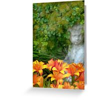Garden Girl And Orange Lilies Digital Watercolor Greeting Card