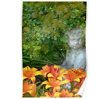 Garden Girl And Orange Lilies Digital Watercolor Poster