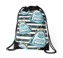 Hand drawn blue backpack seamless pattern on black watercolor stripes Drawstring Bag