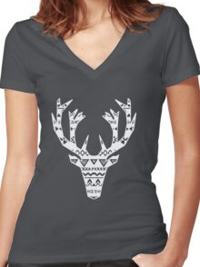 The Tribal ELK Christmas Women's Fitted V-Neck T-Shirt
