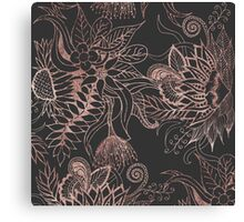 Chic Rose Gold and Black Flowers Leaves Canvas Print