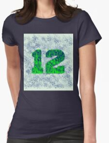 Abstract Team Spirit - Blue On Green Womens Fitted T-Shirt