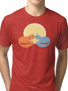 Two Cats And The Moon Tri-blend T-Shirt