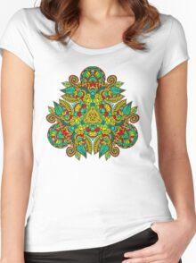Mandala en triangle, feuilles d'automne T-shirt femme moulant à col profond