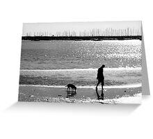 A Man and his Dog B&W Greeting Card