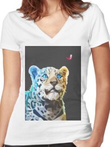 Polygonal Leopard Women's Fitted V-Neck T-Shirt