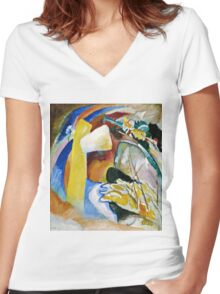 Vassily Kandinsky - Study For Painting With White Form1913  Women's Fitted V-Neck T-Shirt