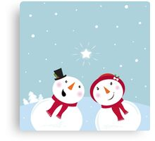 Valentine´s Day: Snowman & Snow - woman Canvas Print