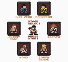 8-bit Mortal Kombat 'Megaman' Stage Select Screen Kids Tee