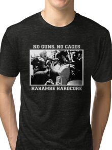 Harambe Hardcore - White Text Tri-blend T-Shirt