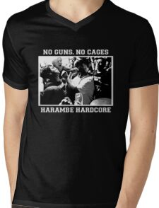 Harambe Hardcore - White Text Mens V-Neck T-Shirt