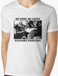 Harambe Hardcore - Black Text Mens V-Neck T-Shirt