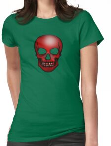 Red Skull Pattern Womens Fitted T-Shirt
