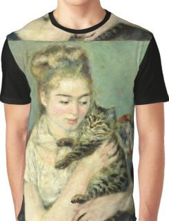 Renoir Auguste - Woman With A Cat  Graphic T-Shirt