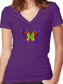 nick mason butterfly tee Women's Fitted V-Neck T-Shirt